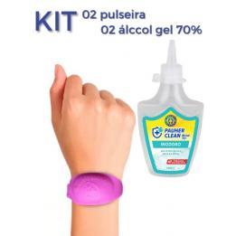 Kit 02 Pulseiras Biossegurança + 02 Alcool 70%