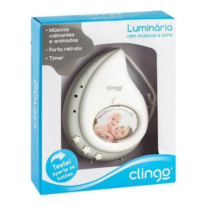 Luminária Gota Com Luz E Som - Clingo BRANCO/CINZA  C2408