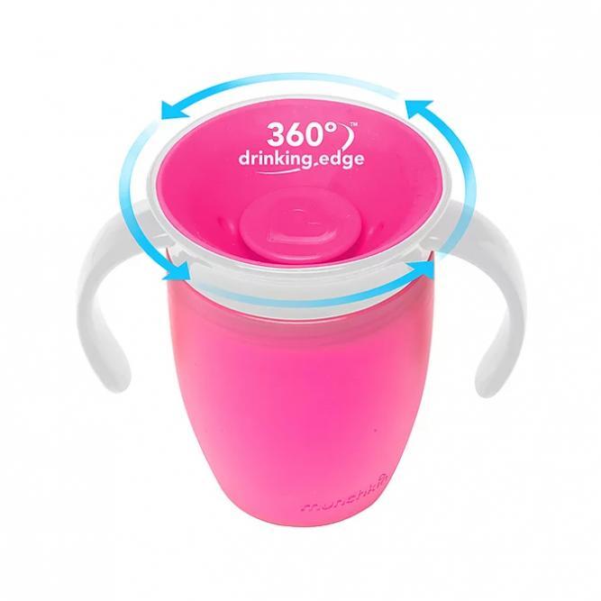 Copo 360º C/Tampo Treinamento - Munckin Rosa 207ML 0251855