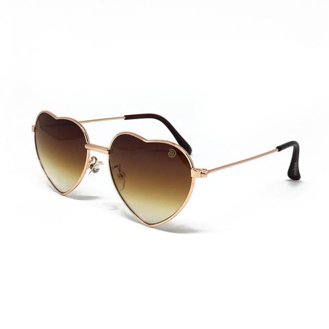 Óculos De Sol Infantil Com Proteção Uv400 Coração Marrom - Kidsplash