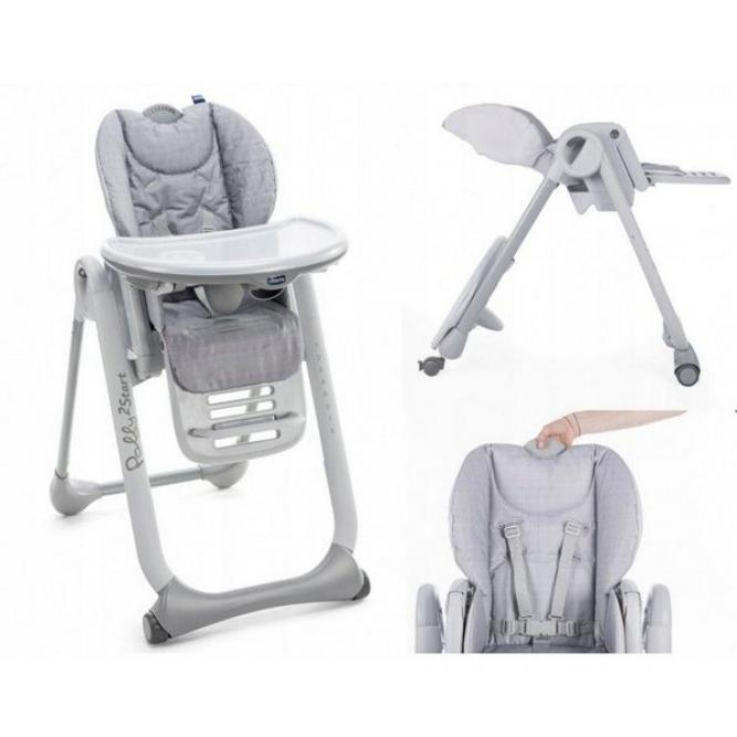 Cadeira Papa Polly2start - Chicco  HAPPY SILVER  8079205340610