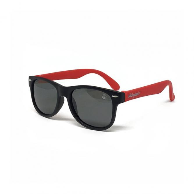 Óculos De Sol Infantil Flexível Com Lente Polarizada E Proteção Uv400 Preto E Vermelho M - Kidasplash