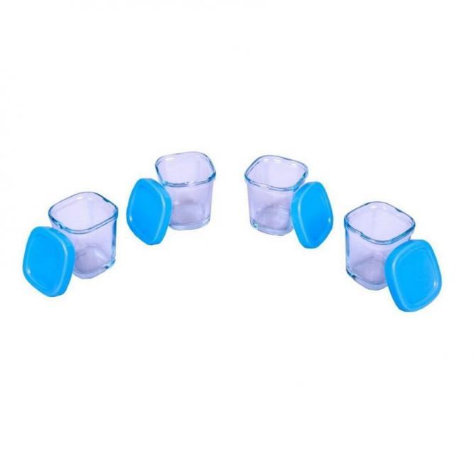 Kit Potes De Vidro Para Leite Materno - Clingo  Azul 4UN C2410