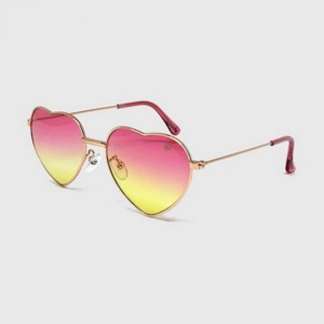Óculos De Sol Infantil Com Proteção Uv400 Coração Pink E Amarelo - Kidsplash