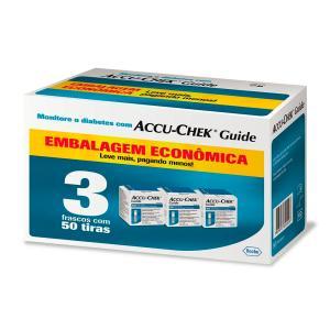 (F)Accu Chek Guide Roche 3 Frascos Com 50 Tiras Embalagem Economica